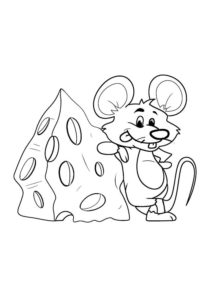Крутой мышонок облокачивается на сыр