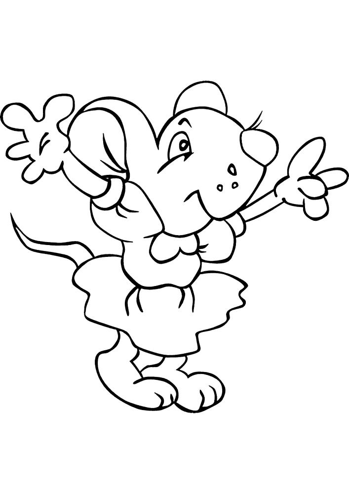 Мышка в платье - раскраска