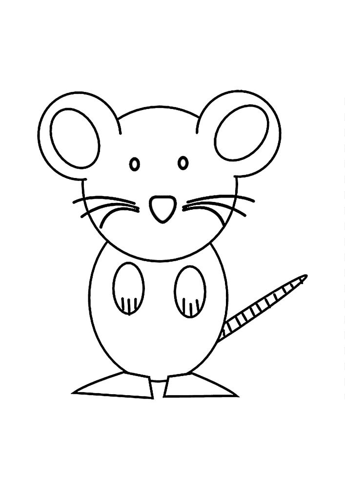 Мышка стоит на задних лапах.