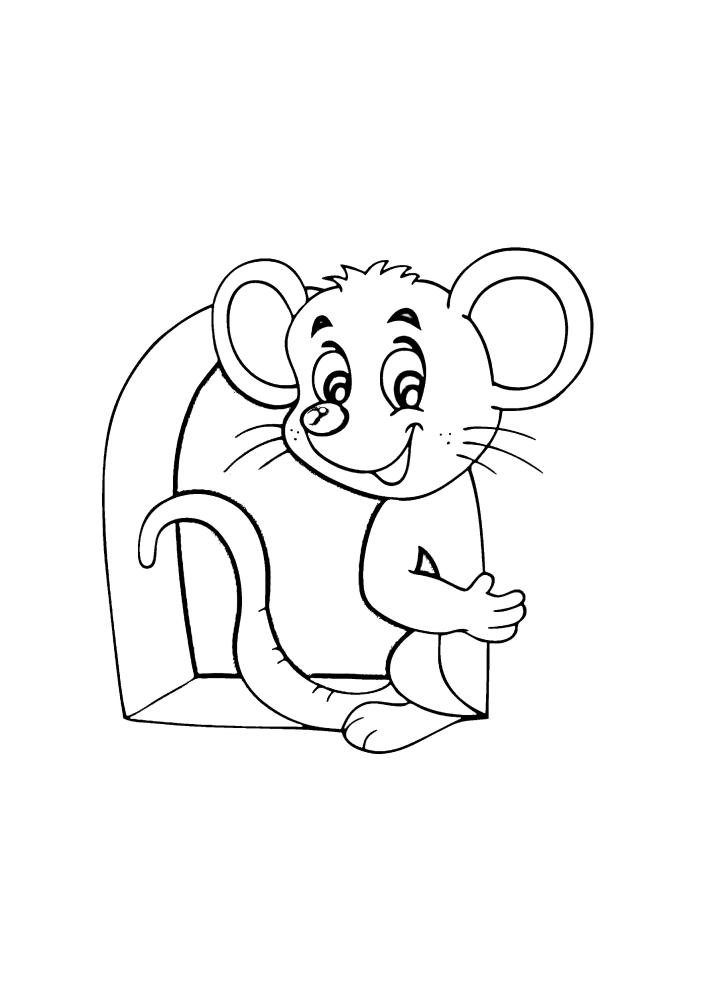 Мультяшная мышь - раскраска