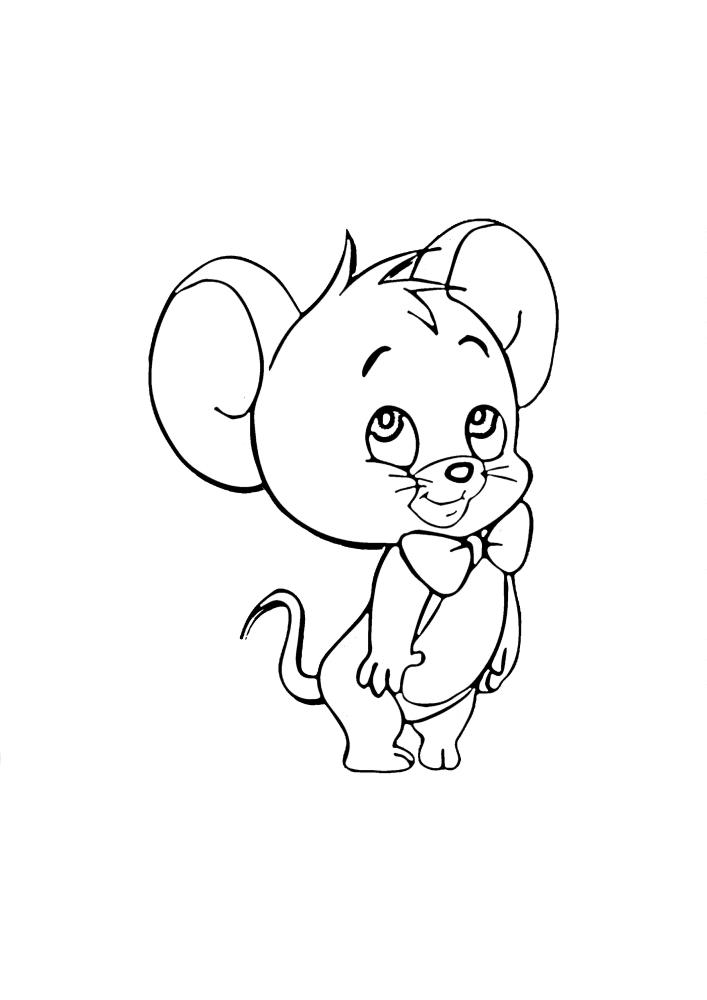 Мышонок с бантиком - милая раскраска