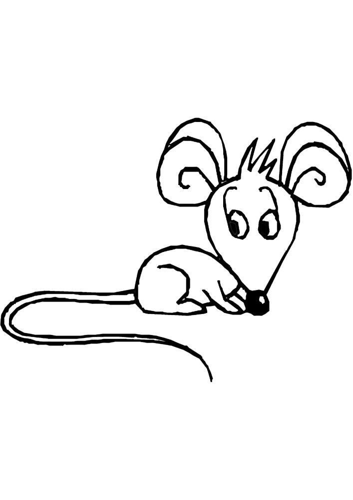 Мышь - раскраска для малышей