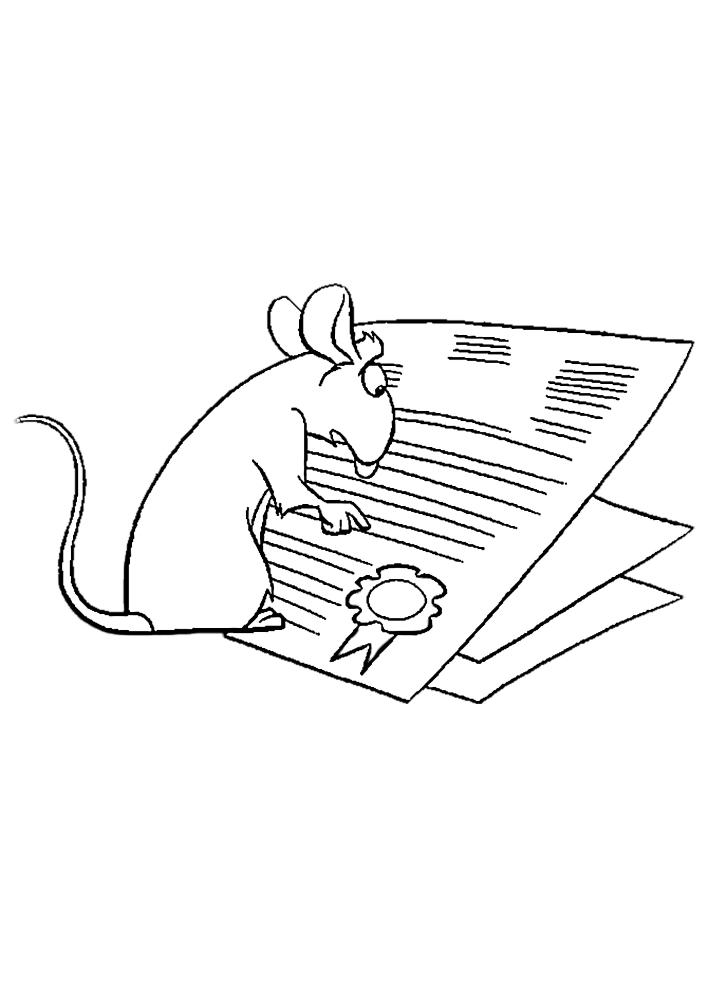 Мышь читает газету