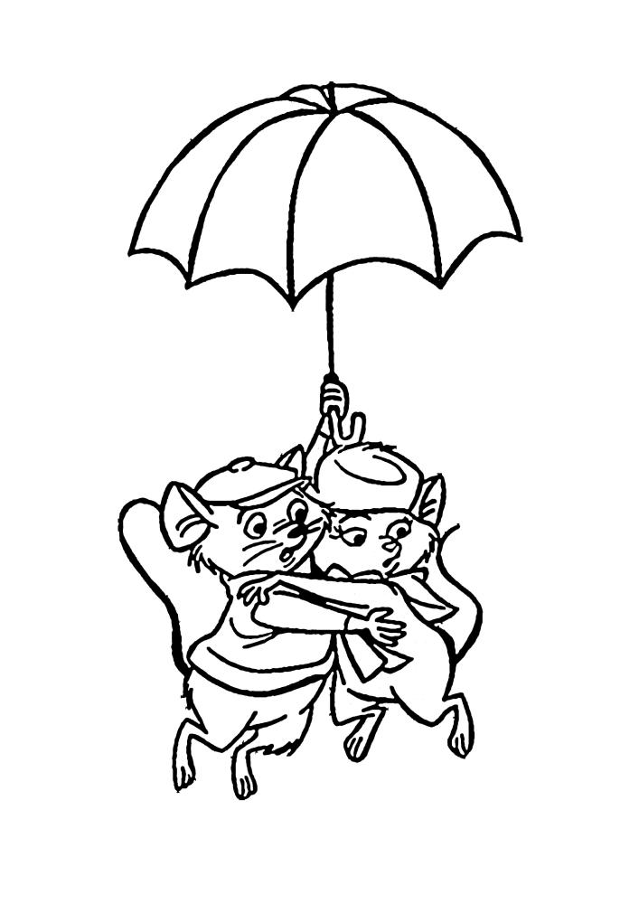 Мышки спускаются на зонтике