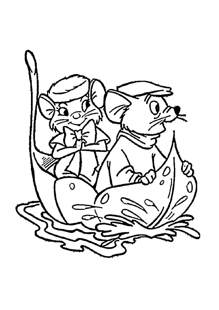 Мышки плывут на листочке