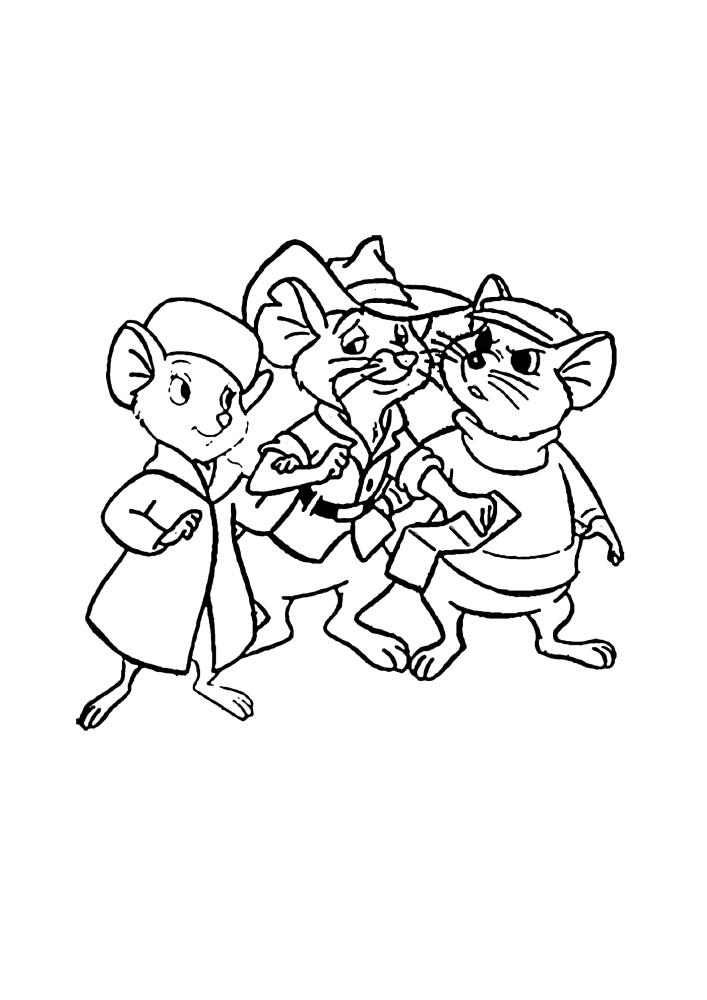 Три мышки - раскраска из мультфильма для детей