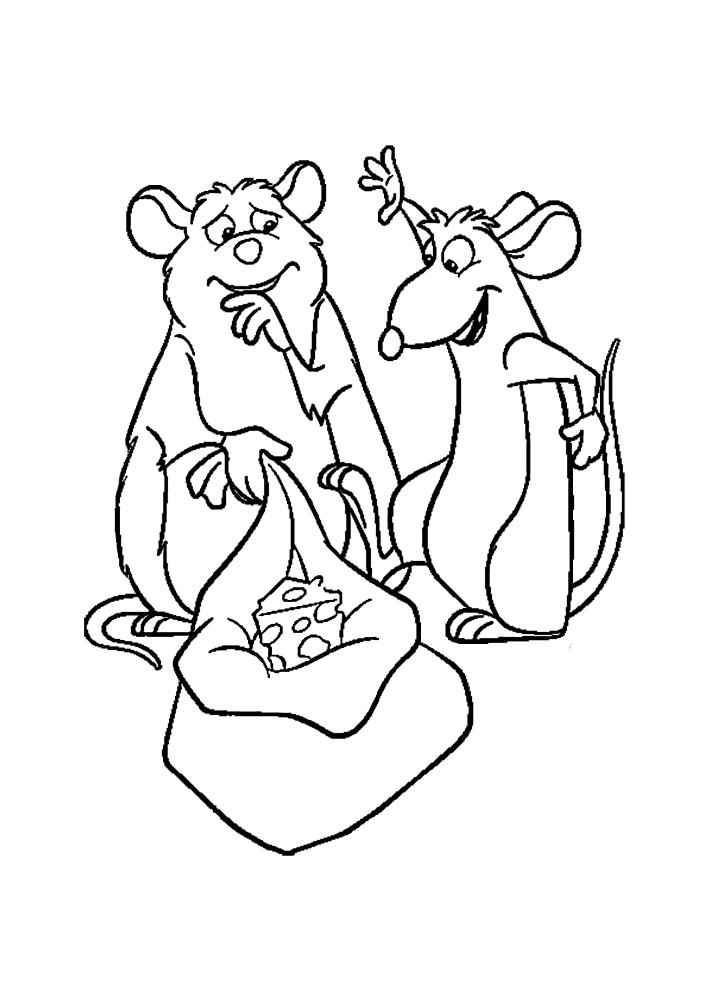Крысы украли сыр и теперь делят его между собой.