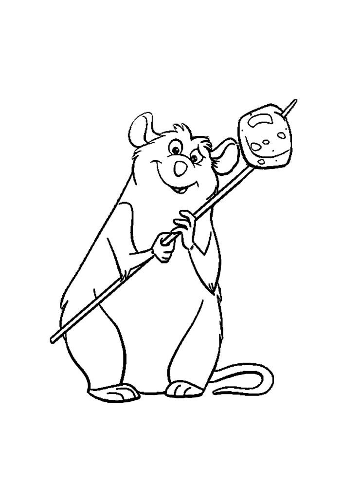 Крыса держит сыр, насаженный на палочку