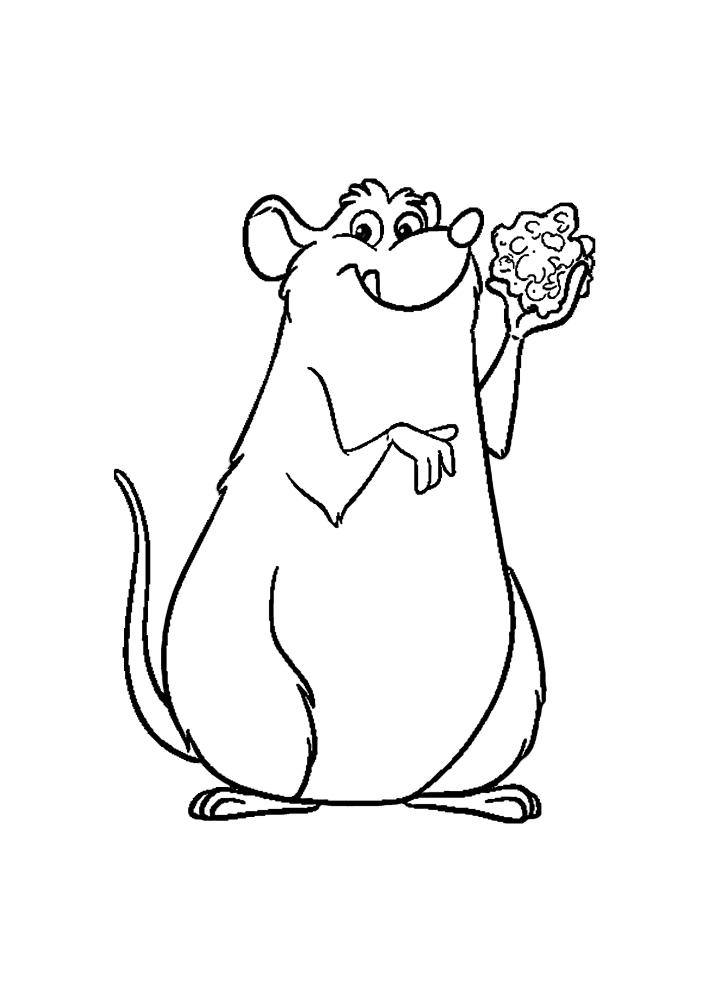 Крыса кушает сыр.