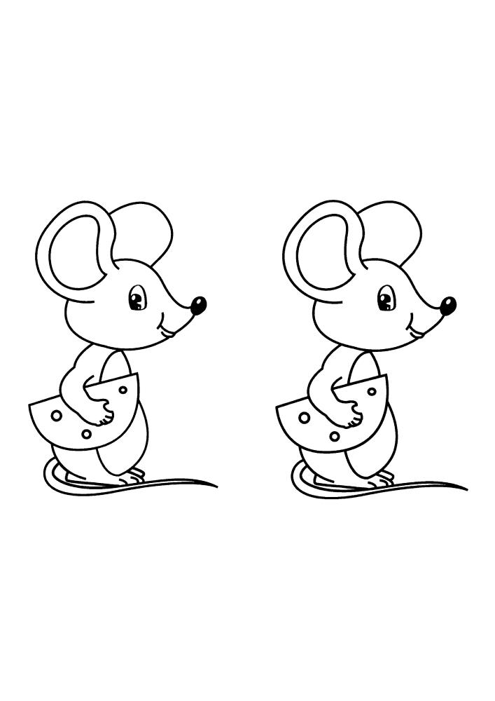 Две одинаковые мышки - их можно разукрасить в разные цвета