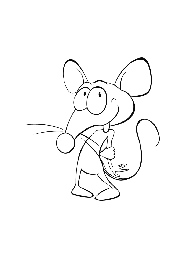 Застенчивая мышь - раскраска для детей