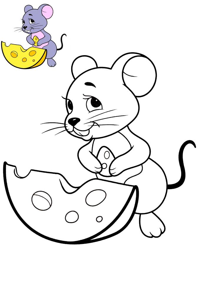 Мышь ест сыр - раскраска с образцом разукрашивания
