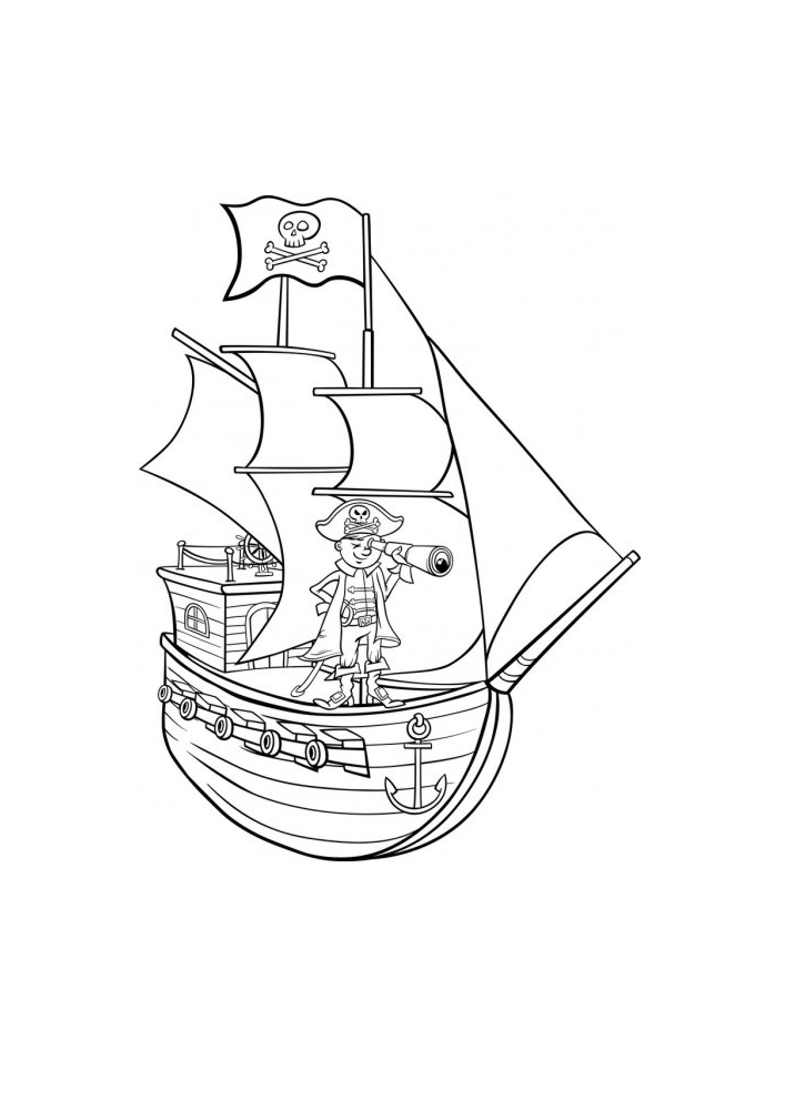 Пират смотрит в подзорную трубу - ищет сокровища