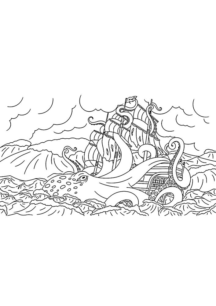 Кракен напал на корабль