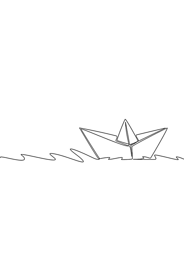 Бумажный кораблик - раскраска