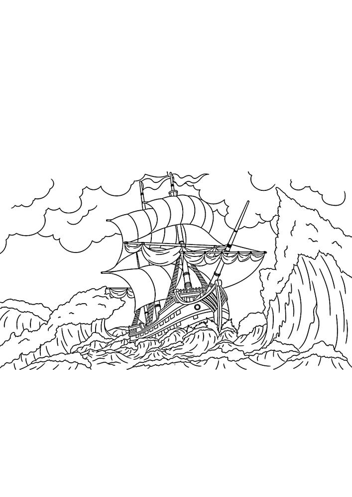 Корабль попал в шторм - раскраска