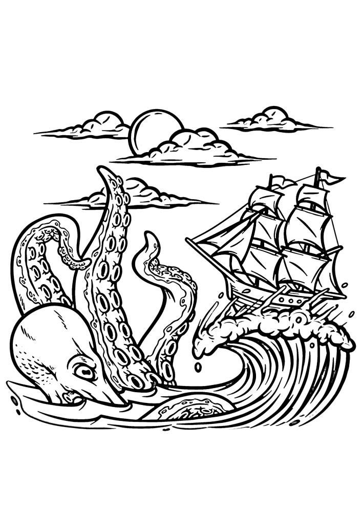 Корабль в десятки раз меньше этого чудовища - страшного кракена