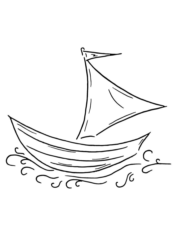 Маленькая лодка плывёт по волнам