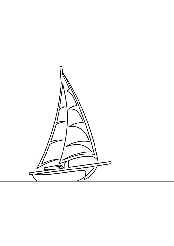 Маленькая яхта - раскраска для малышей