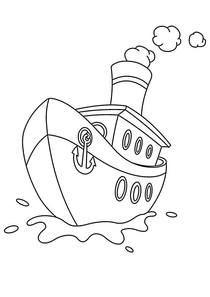 Маленький корабль с якорем