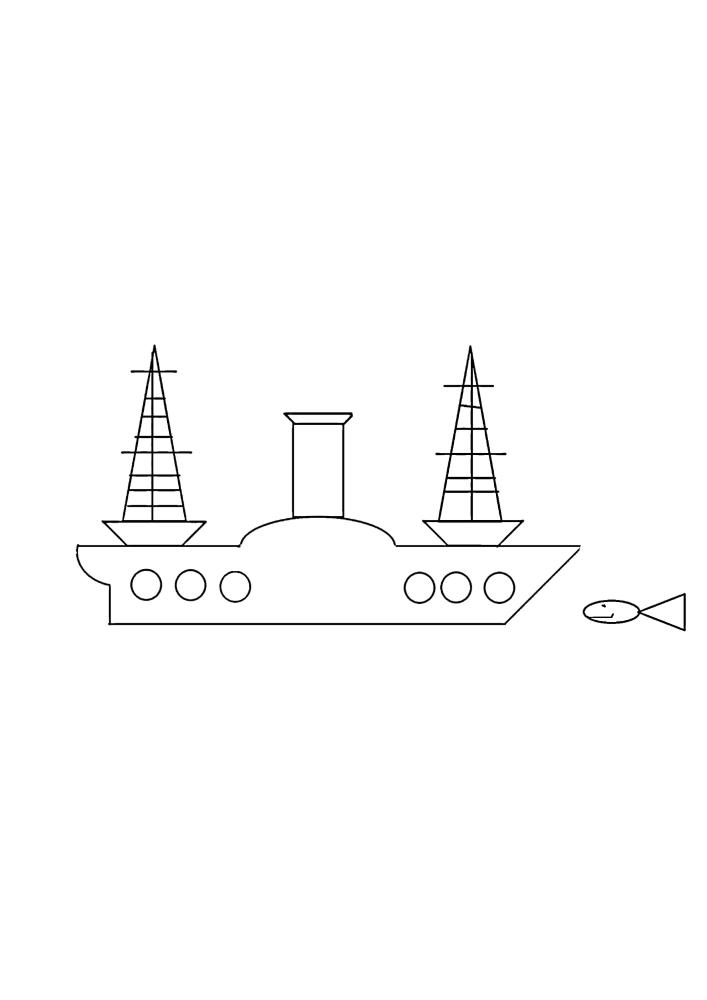 Рыбка проплывает рядом с гигантским судном