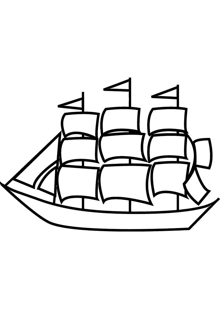 Лёгкая детская раскраска корабля