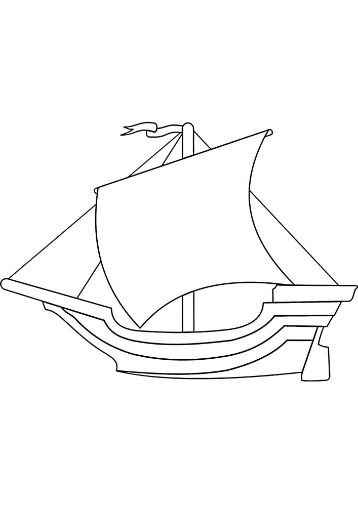 Чёрно-белое изображение судна для малышей