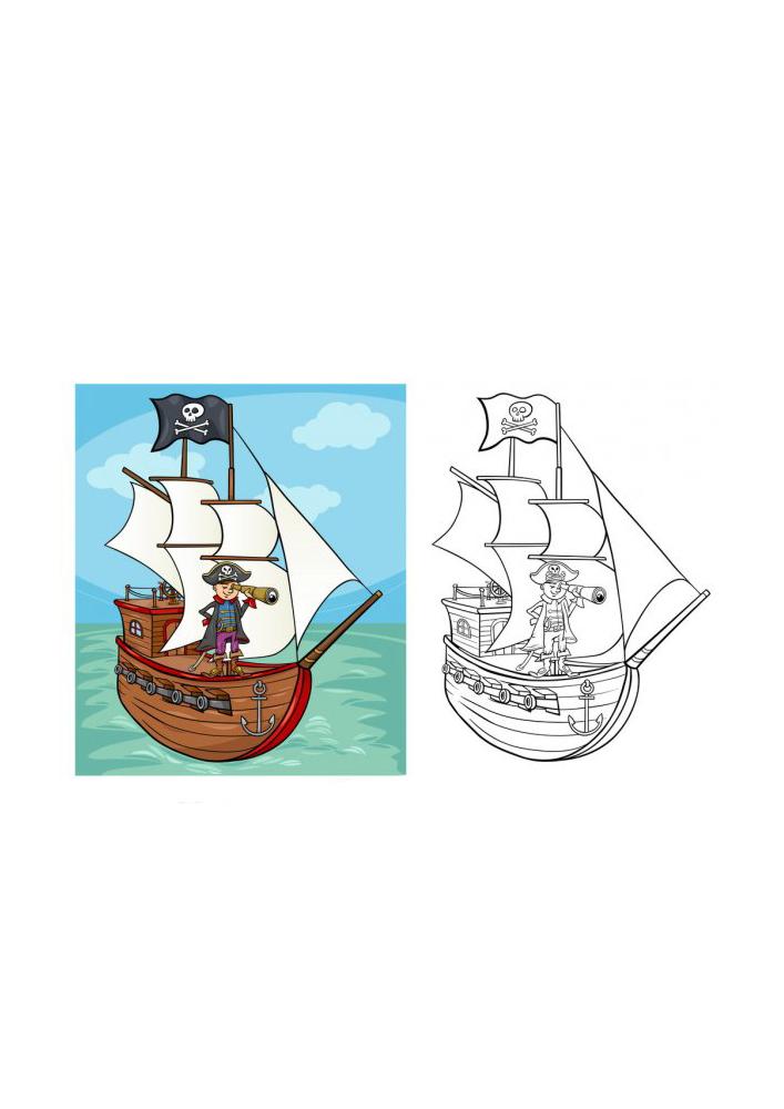 Раскраска пиратского корабля с образцом разукрашивания