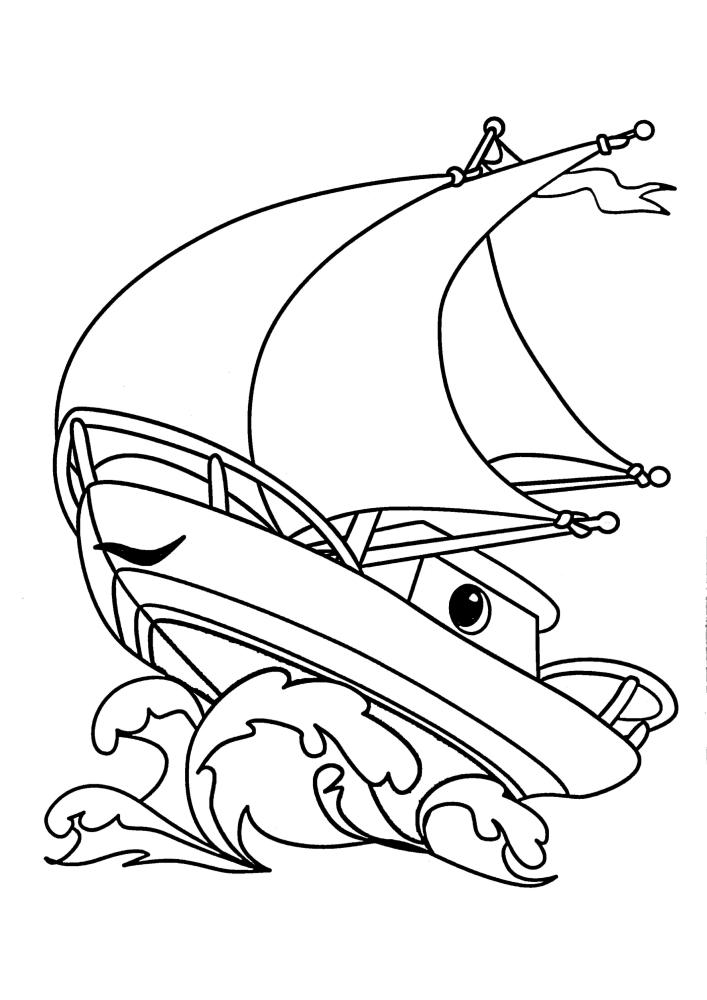 Яхта с глазами плывёт по волнам
