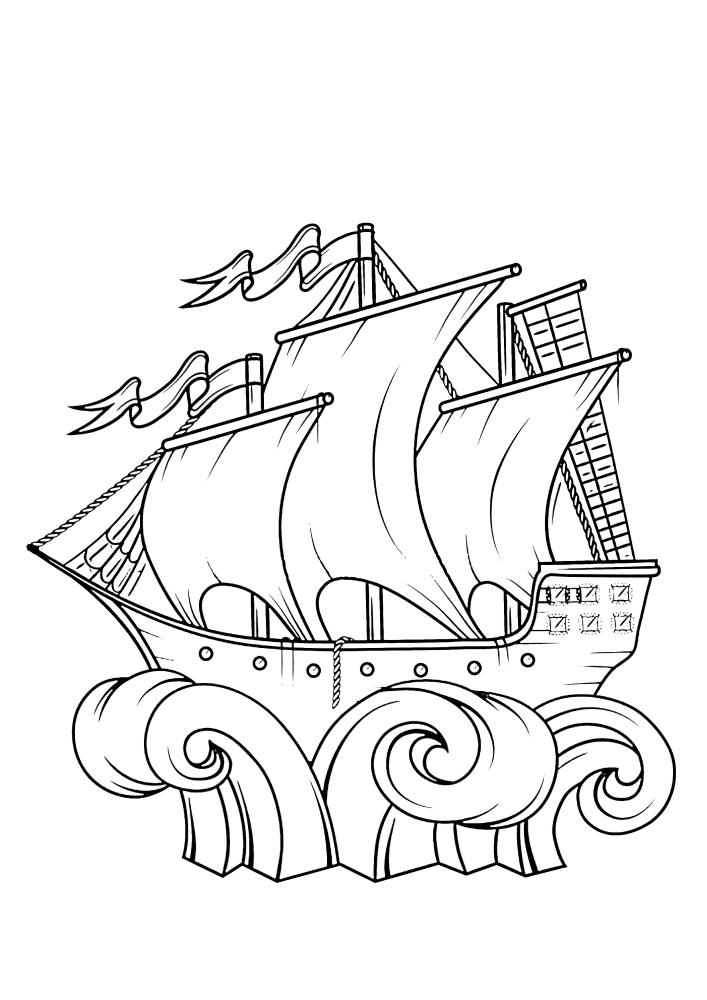 Волны подбросили корабль вверх