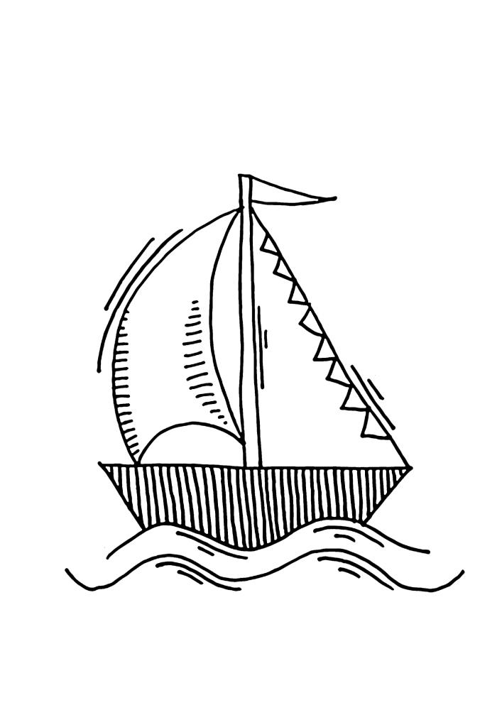 Раскраска корабля для малышей 3 лет