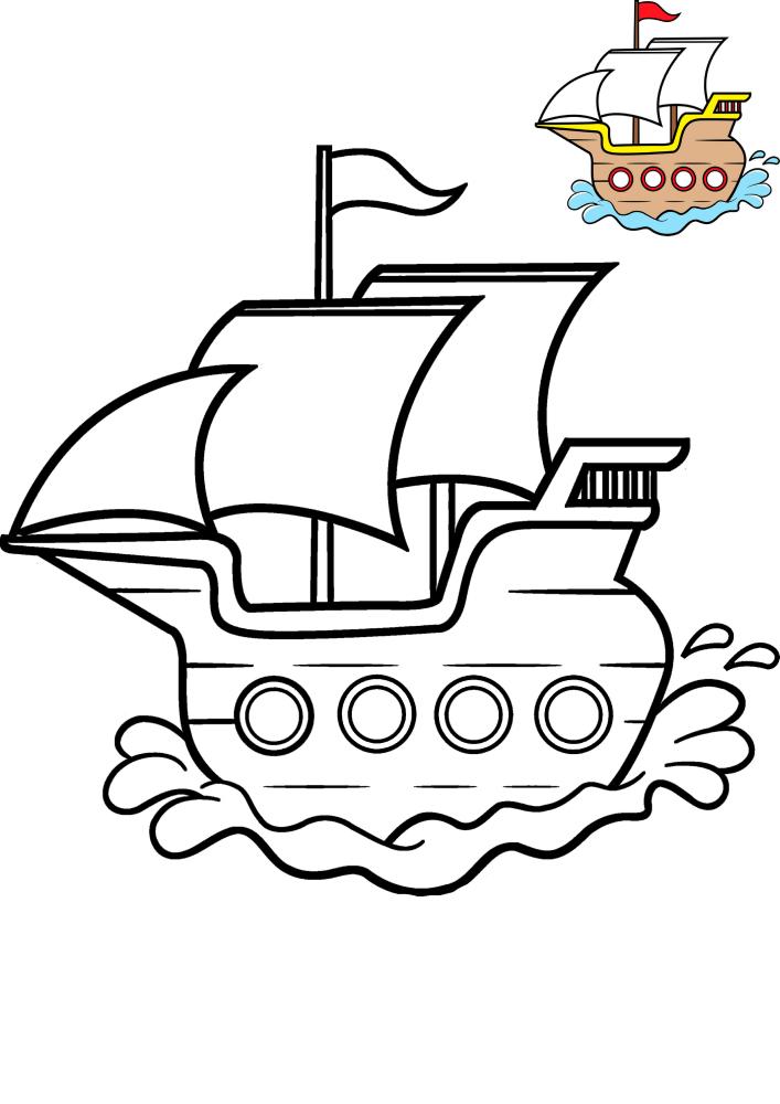 Маленькое судно - чёрно-белая картинка вместе с предложенным вариантом разукрашивания