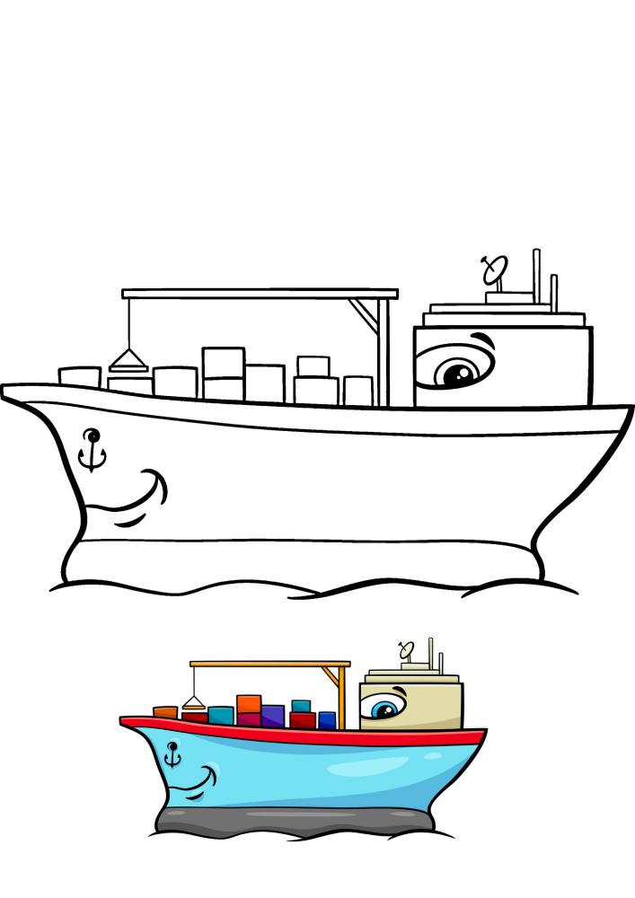 Корабль с глазами везёт контейнеры - раскраска с образцом разукрашивания