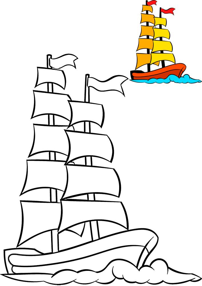 Лёгкая в рисовке раскраска корабля