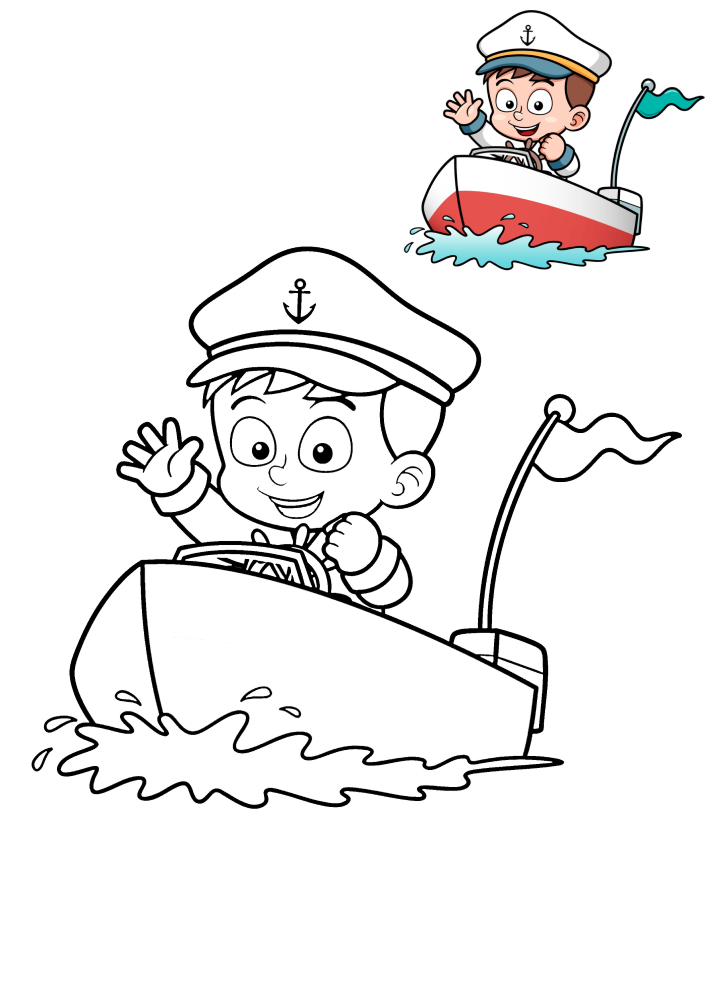 Маленький капитан судна - раскраска с образцом разукрашивания