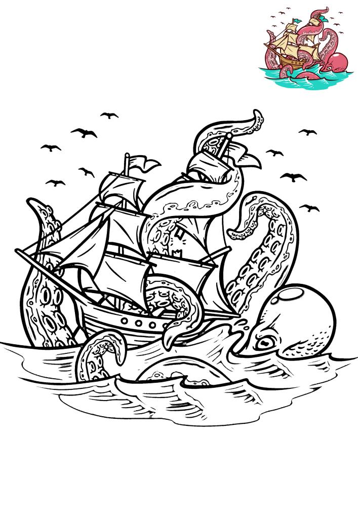 Кракен напал на корабль - раскраска с образцом разукрашивания