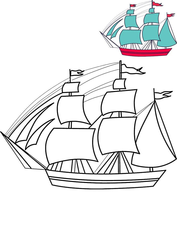 Большое вместительное судно с образцом разукрашивания