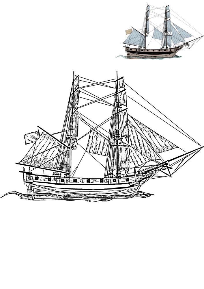 Детализированная раскраска корабля с образцом разукрашивания