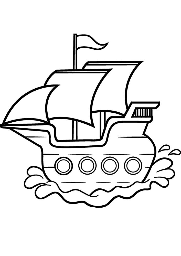 Детская чёрно-белая картинка корабля