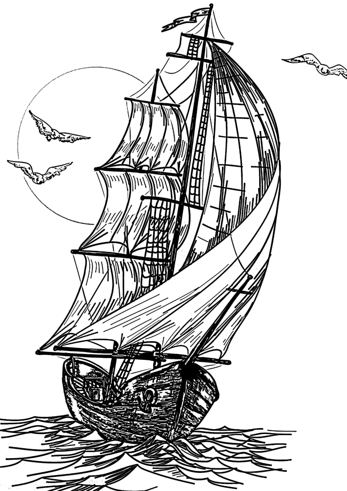 Корабль уходит в закат