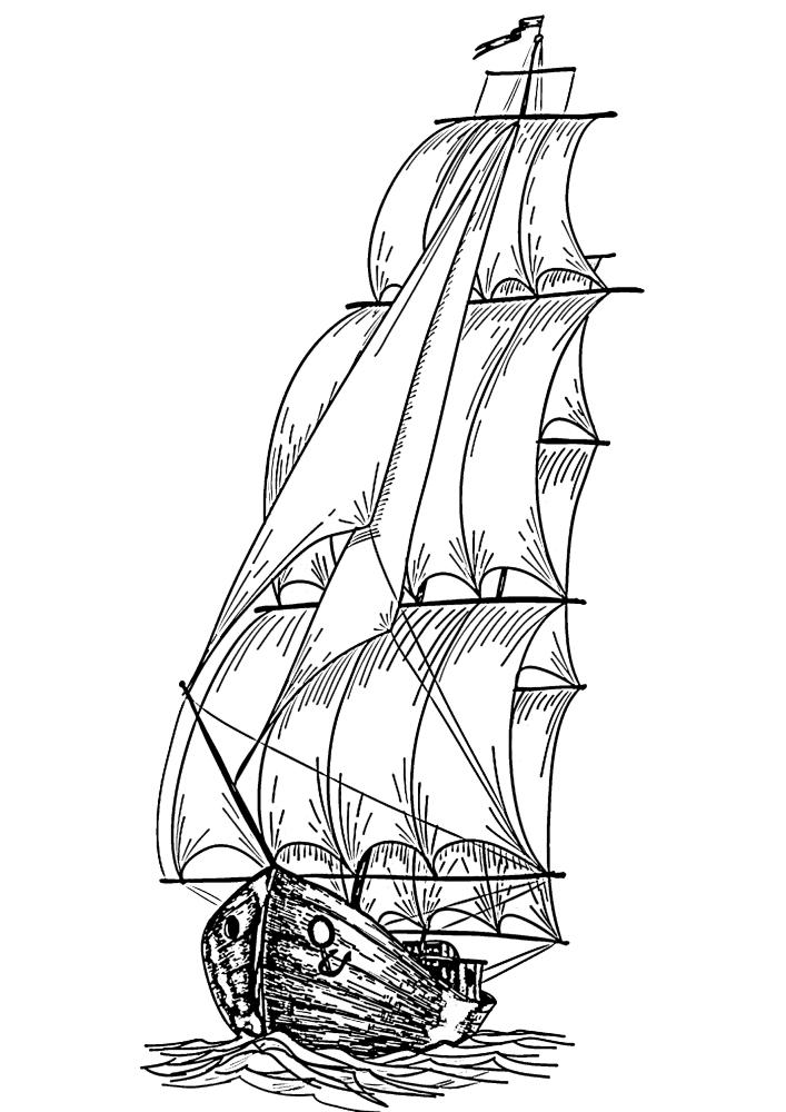 Огромное судно прошлых веков