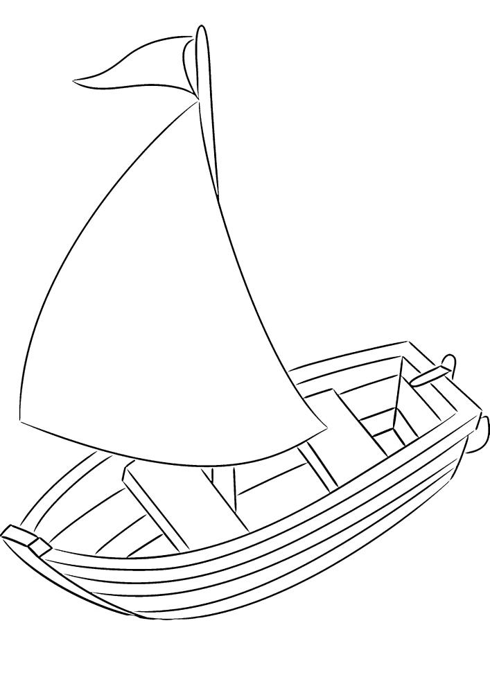Лодка с мачтой - вид сверху