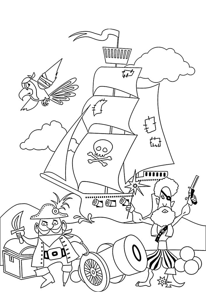 Пираты с сокровищами на фоне их корабля