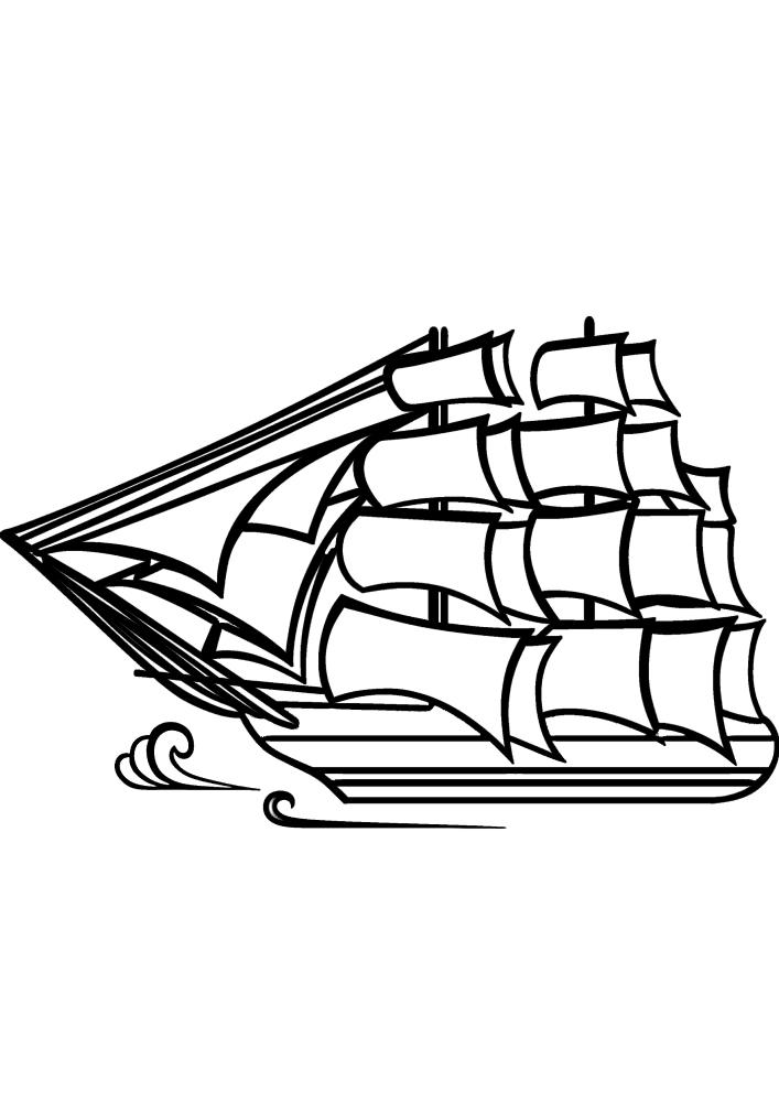 Корабль плывёт по волнам