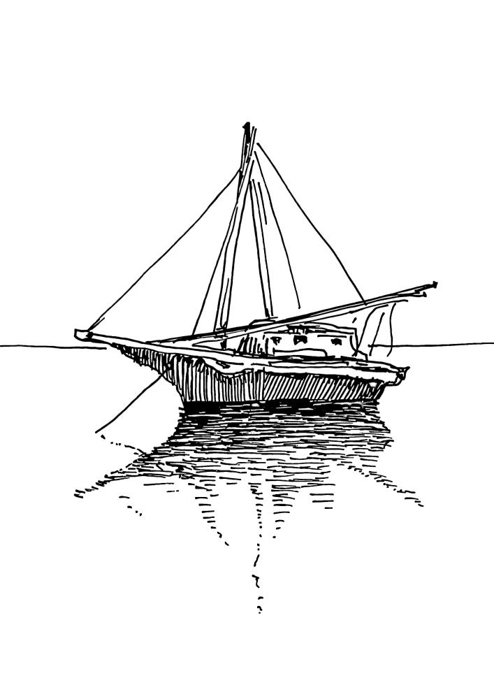 Лодка в открытом океане