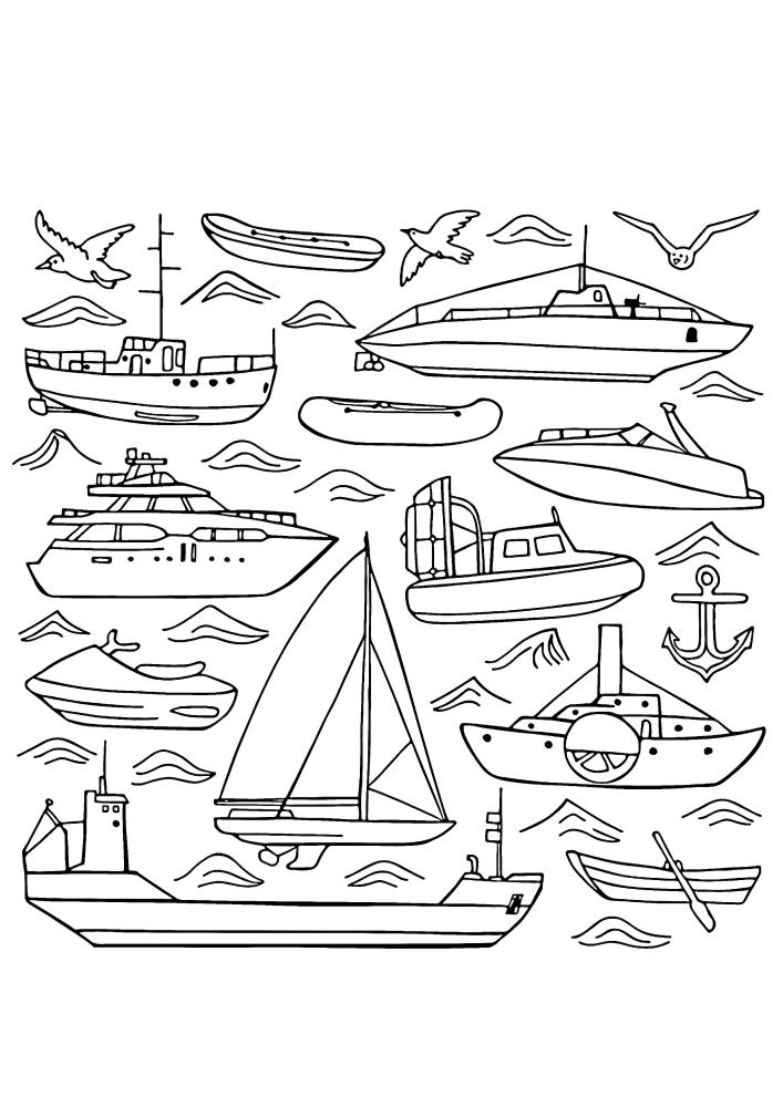 Большое количество кораблей в одном изображении - расслабляющая детализированная раскраска
