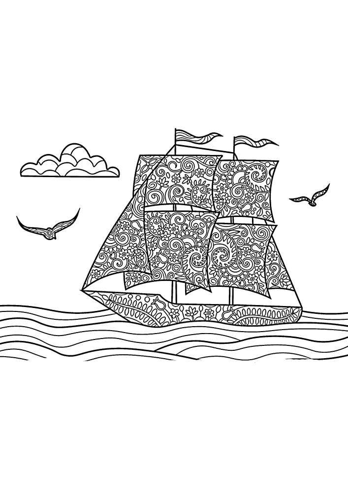 Плывущее детализированное судно