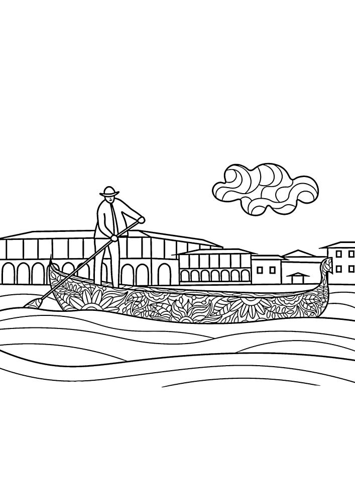 Человек гребет веслом на своей лодке