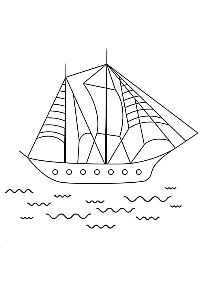 Современный корабль в открытом море