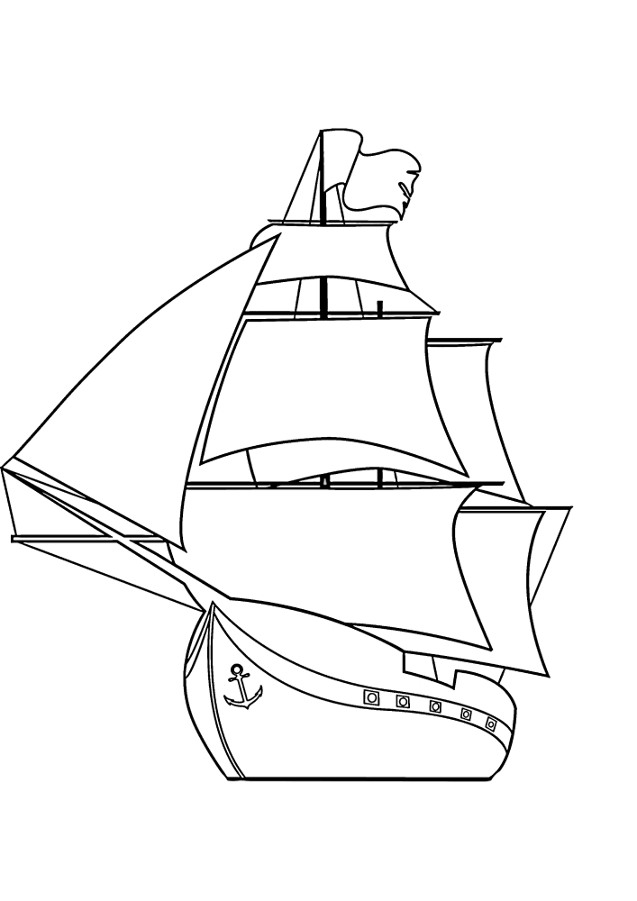 Корабль с якорем